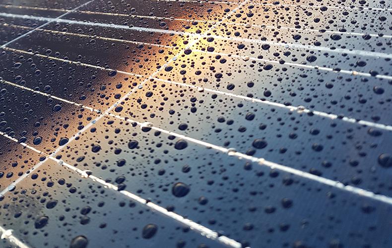 Solcelle med regndråber, Hjertet Multihus, Ikast