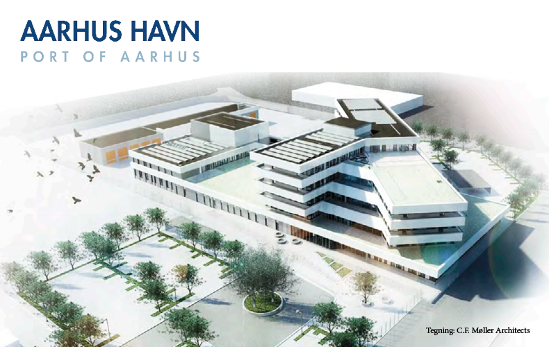 Aarhus Havn logo og tegning som viser Havnecenter Århus. lavet af C.F. Møller Architects.