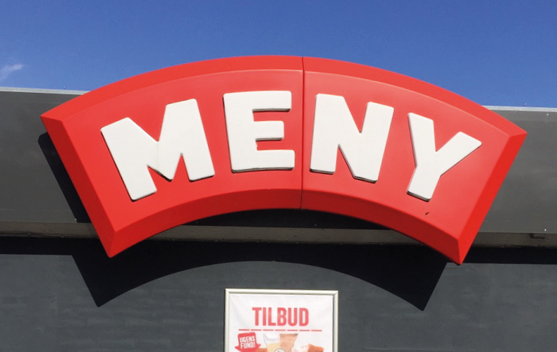 MENY butiksfacade med logo og tilbudsskilt