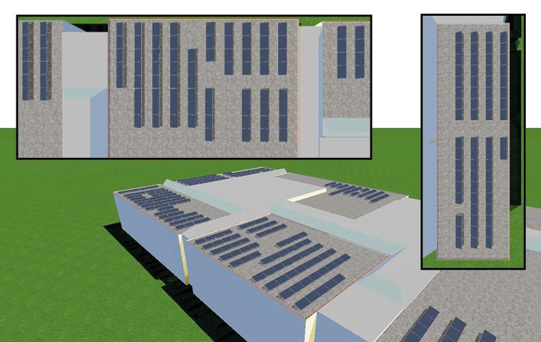 Tegninger af PvSol beregninger, viser solcellers placering på taget