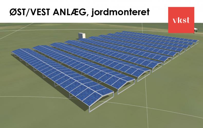 VKST øst/vest vendt jordmonteret solcelleanlæg